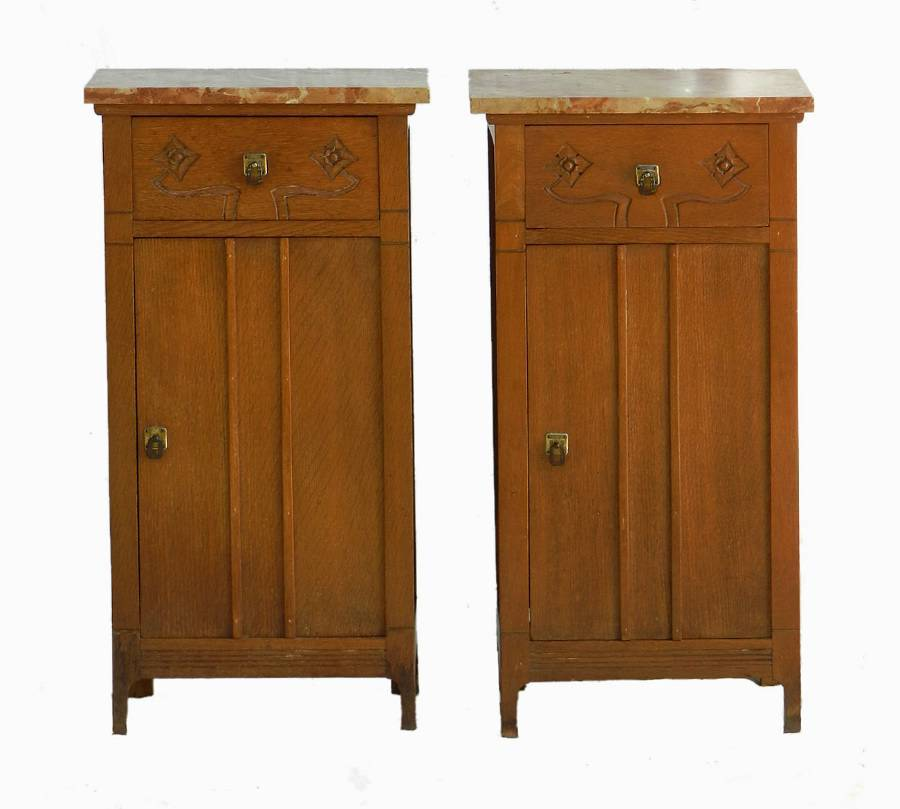 Pair Arts  Crafts Side Cabinets Nightstands Bedside Tables