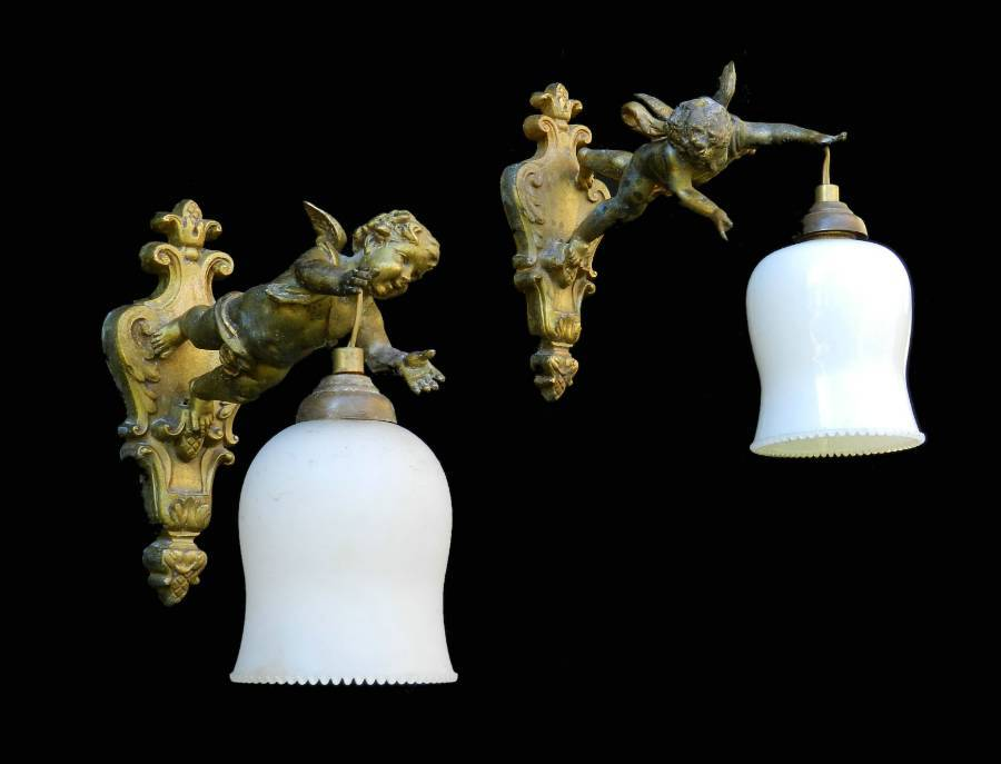 Pair French Putti Wall Lights Cherub Sconces