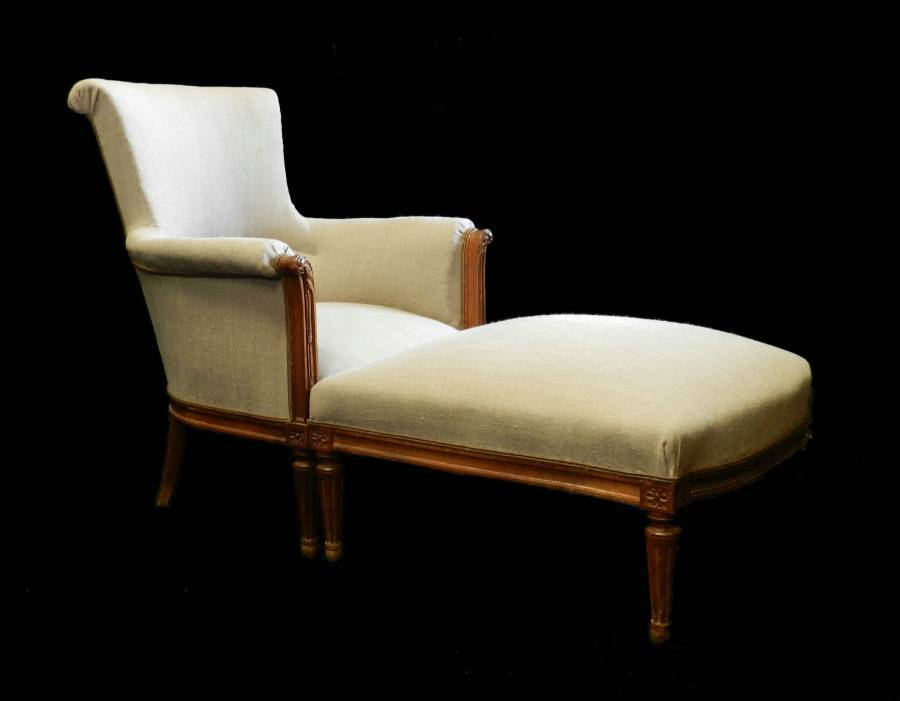 C19 French Duchesse Brisee Armchair  Ottoman Stool Chaise Longue Linen