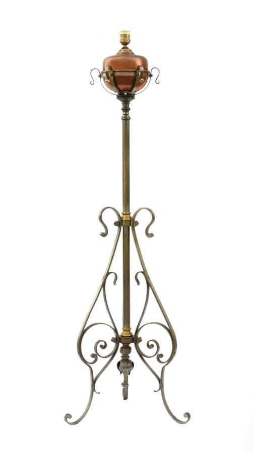 Antique Floor Lamp Arts And Crafts Adjustable Telescopic Wrought Iron Antiques Co Uk
