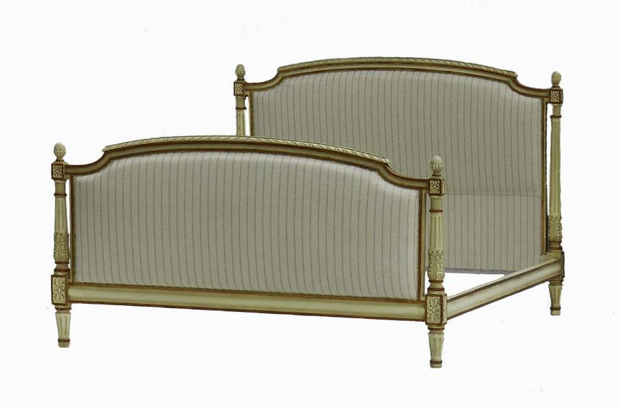 French Bed  Base Newly Upholstered Large Double or UK King US Queen original paint