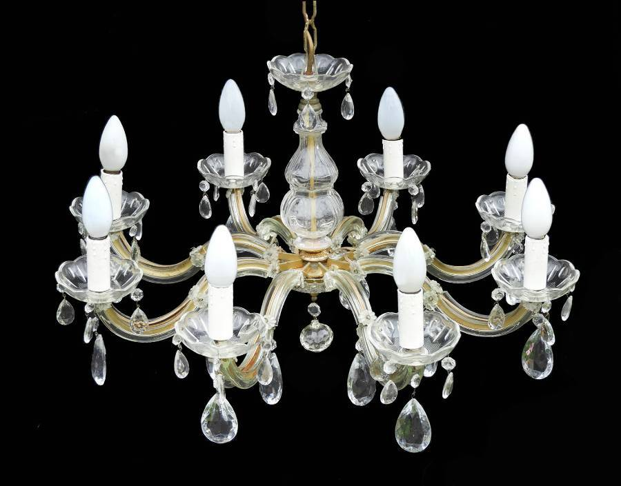 French Chandelier Eight Arm Faceted Drops
