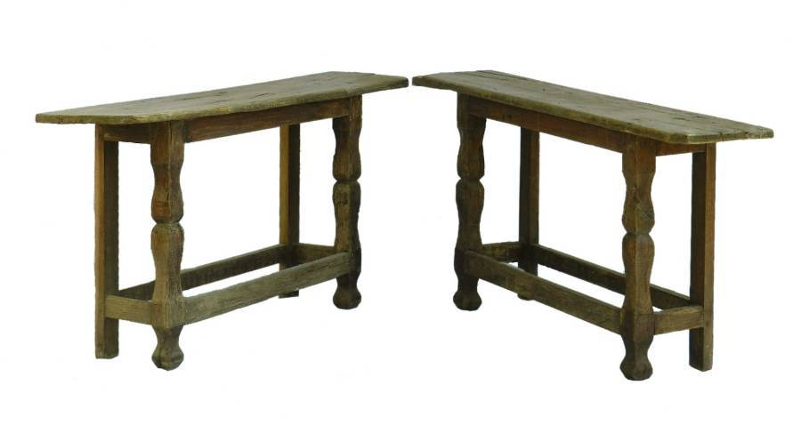 Pair Console Tables Primitive Folk Art Brutalist French Country House