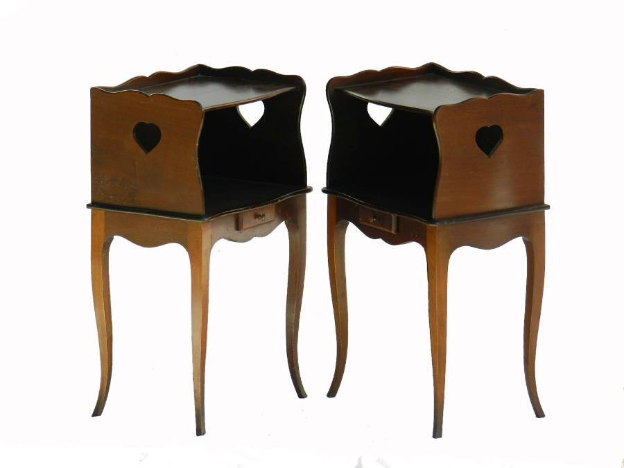 Pair French Nightstand Bedside Tables Provincial Louis revival Cabinets