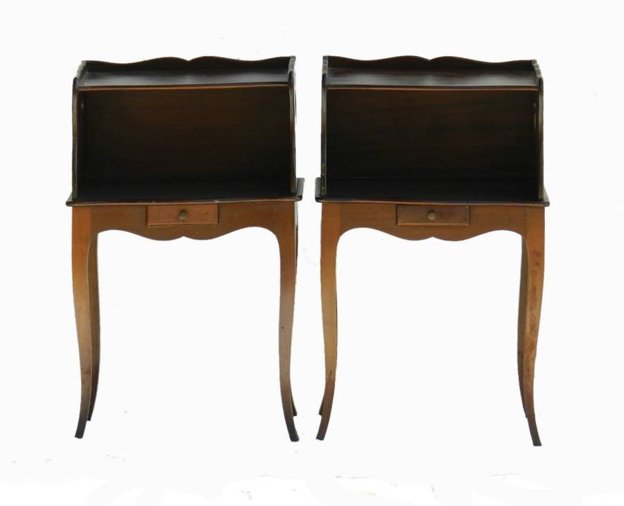Antique Pair French Nightstand Bedside Tables Provincial Louis revival Cabinets