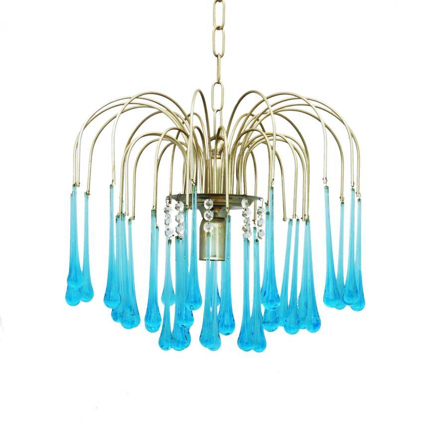 MidCentury Chandelier by Paolo Venini Crystal Drops