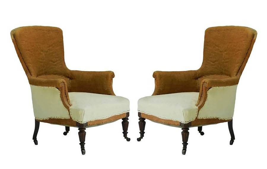 Pair of French Armchairs 19th Century Upholstered Ready for Top Covers
