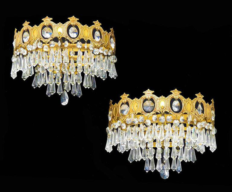 Pair of Wall Lights ThreeTiered Half Crown Sconces