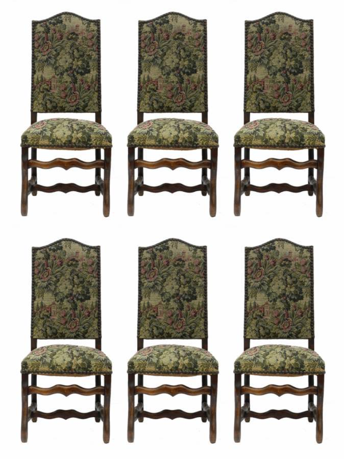 6 Dining Chairs French Os de Mouton