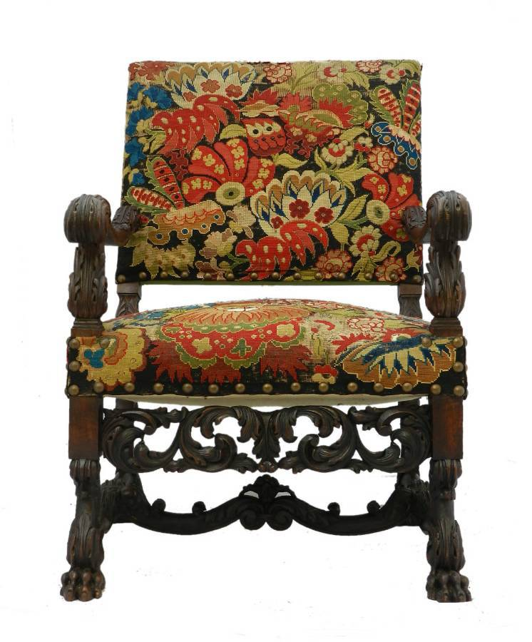 French Country House Armchair 19th Century Carved Gothic Renaissance