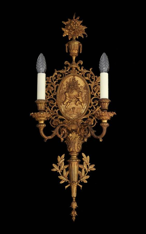 French Gilt Bronze Wall Light Cherub Putti Sconce 19th Century Louis