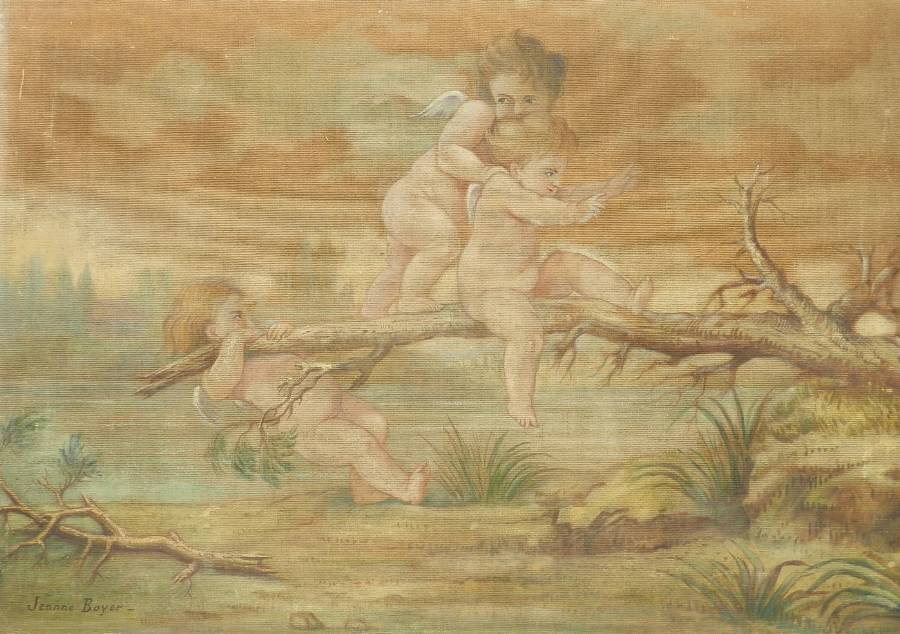 19th century Painting on Fabric Putti Cherubs by Jeanne Jacquemin Boyer