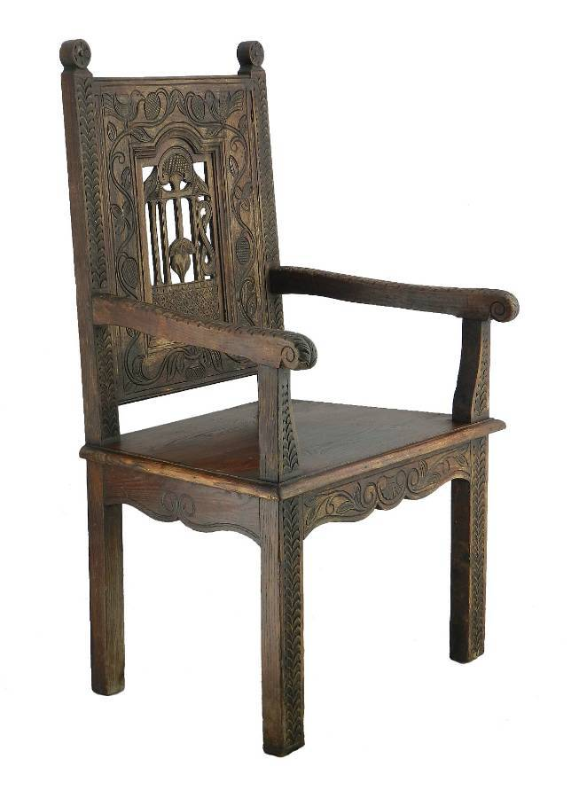 Antique Art And Crafts Throne Chair French Country House Provincial C1900