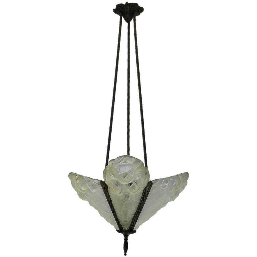 Art Deco Chandelier Signed by Degue French Glass Pendant Light circa 1930
