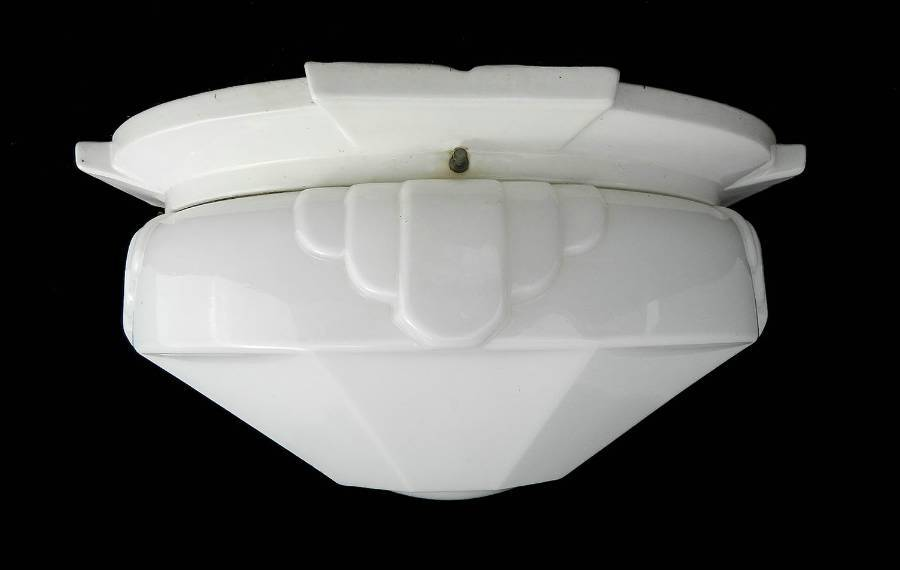 Antique Art Deco Flush Mount Ceiling Light or Wall Light Large Odeon Glass Shade