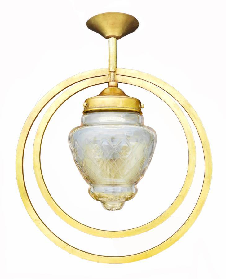 Art Deco Pendant Light Etched Glass Double Hoop circa 1930