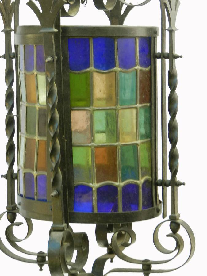 Antique Arts and Crafts Lantern Gothic Revival Wrought Iron Leaded Lights
