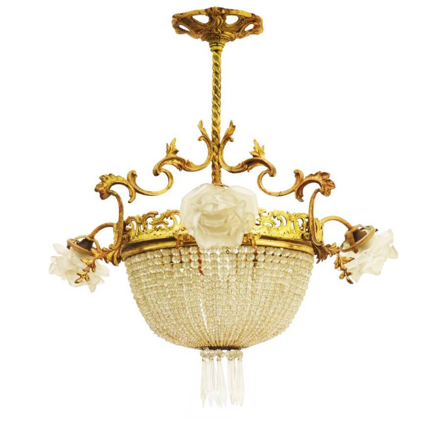 Belle Epoque Chandelier French Crystal Gilt Bronze Rose Shades Late 19th Century