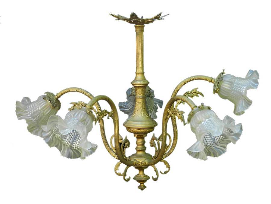 Belle poque Chandelier Gilt Bronze Glass French Louis XV Revival circa 1900