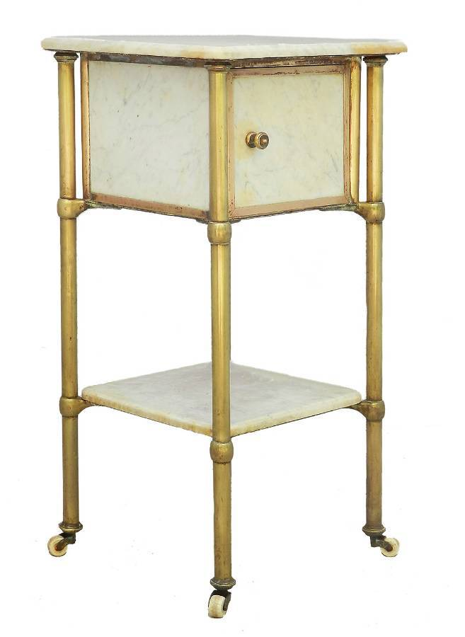 Brass and Marble Side Cabinet Mid Century