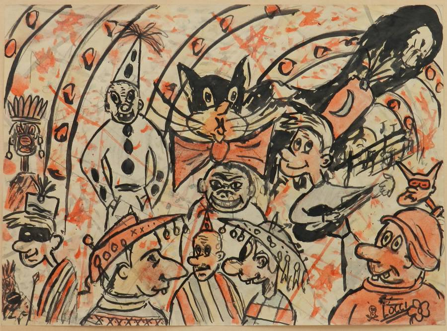 Carnival Sketch by Bruno Locci Italian 20th Century Painter 19372010