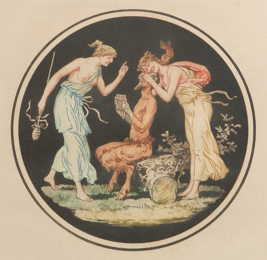 Engraving Pan Nymphs Allegorical Decorative French Print after Jean Guillaume Moitte