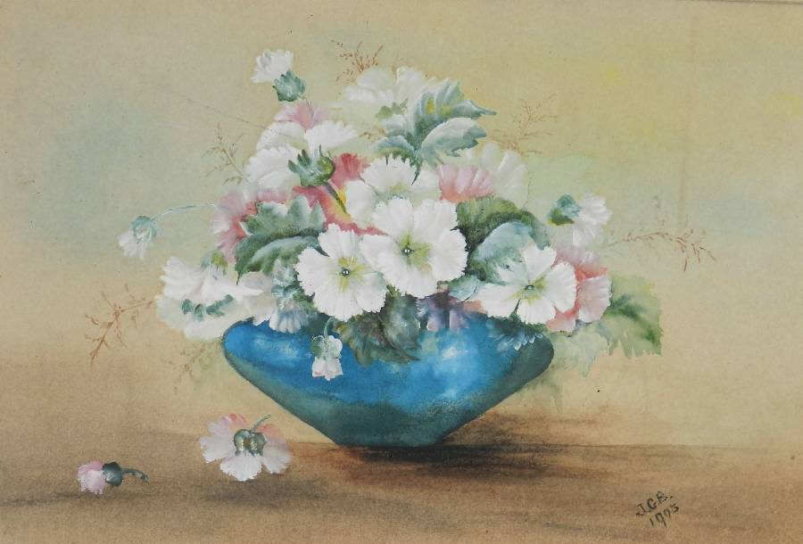 Flowers In A Bowl Watercolour English Signed Artists Initials 1905