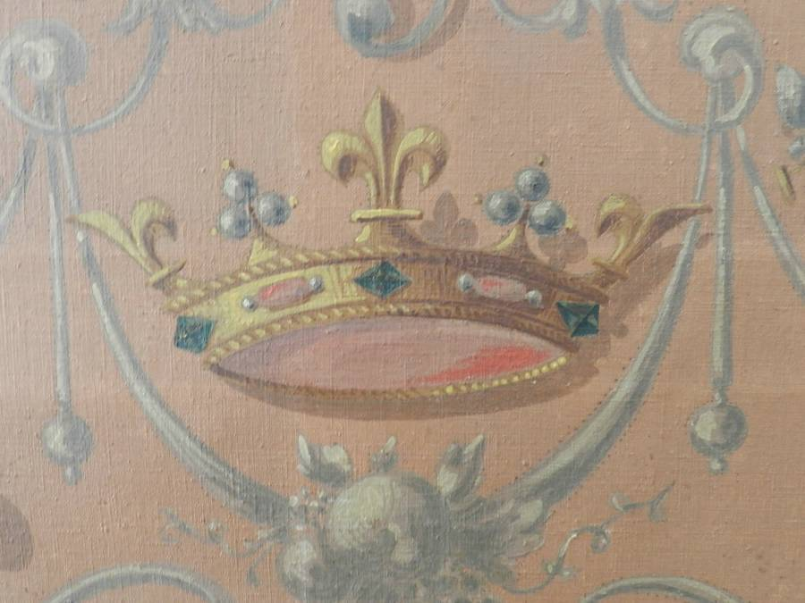 Antique French 19th Century Painting Catherine de Medicis Emblems Decorative Chimera