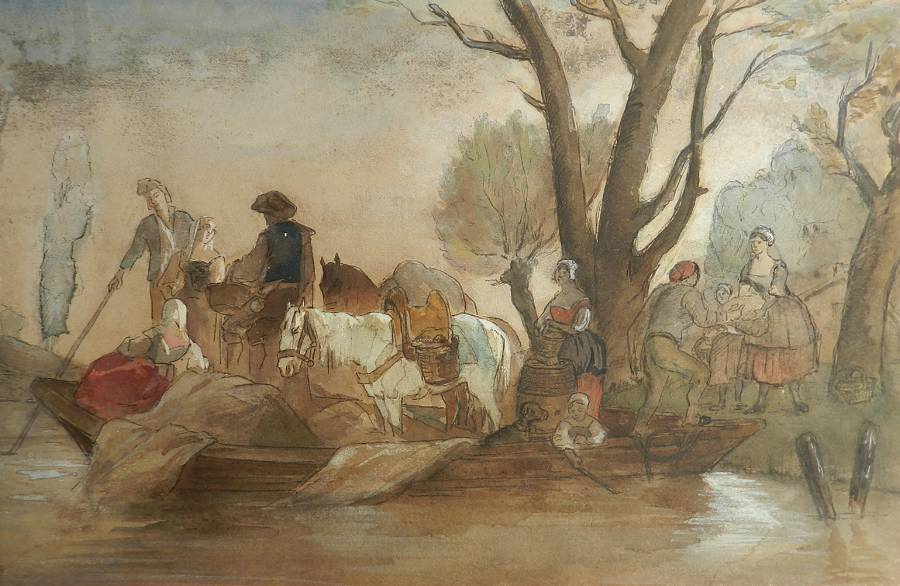 French 19th Century Watercolor Villagers At Waters Edge Atrb Jules Hereau C1870