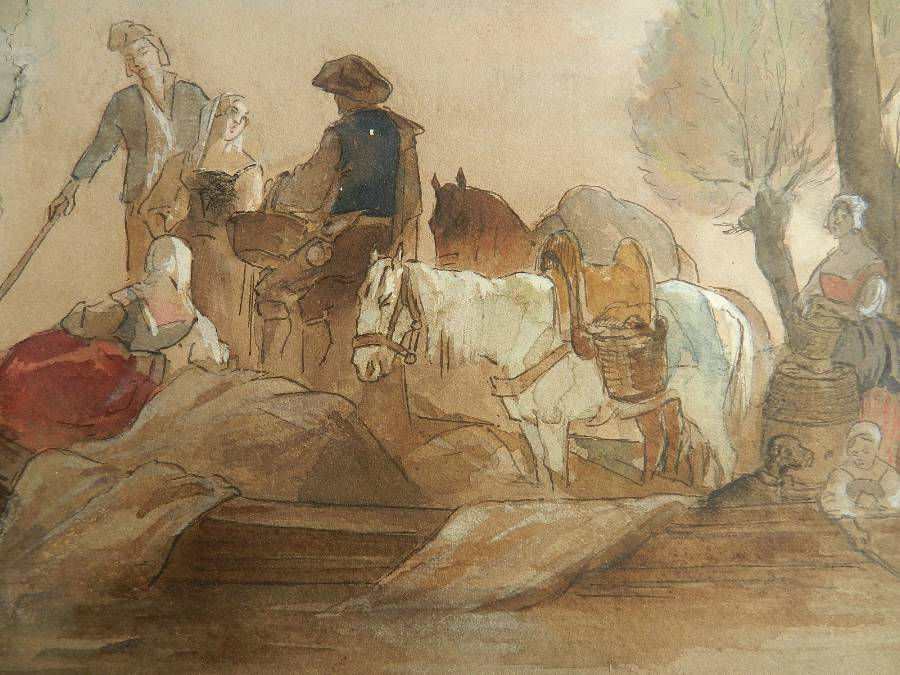 Antique French 19th Century Watercolor Villagers At Waters Edge Atrb Jules Hereau C1870
