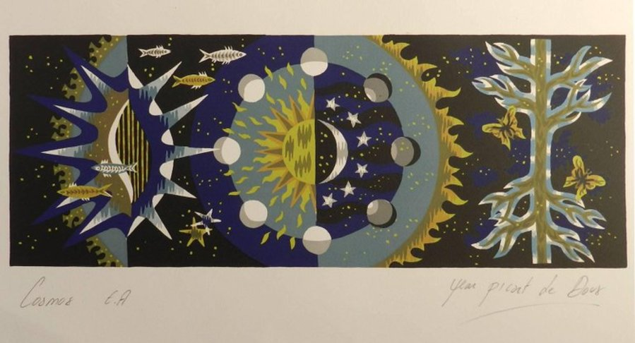 Jean Picart Le Doux Lithograph Hand Signed Cosmos c19501960 unframed