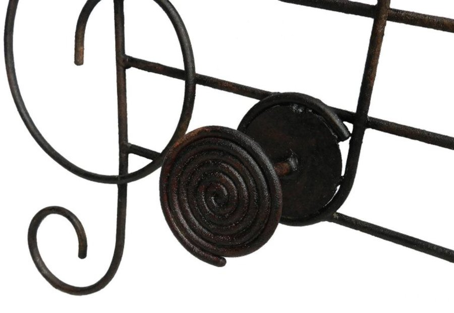 Antique Midcentury Coat and Hat Rack Musical Notes Iron Wall Mount