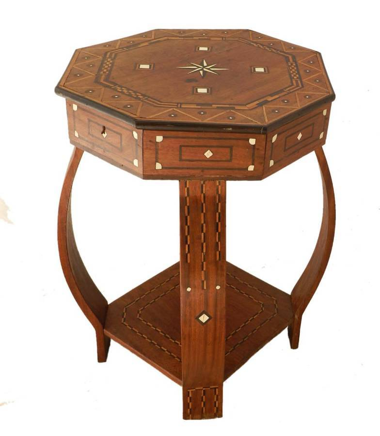 Moroccan Inlaid Side Table early 20th Century Games or Sewing