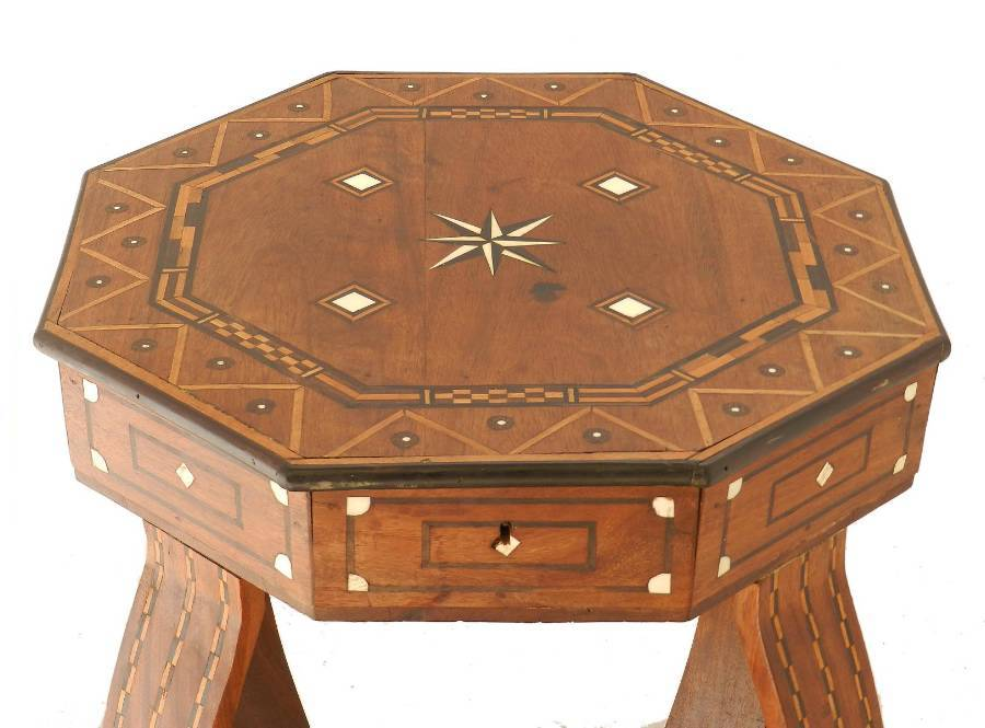 Antique Moroccan Inlaid Side Table early 20th Century Games or Sewing