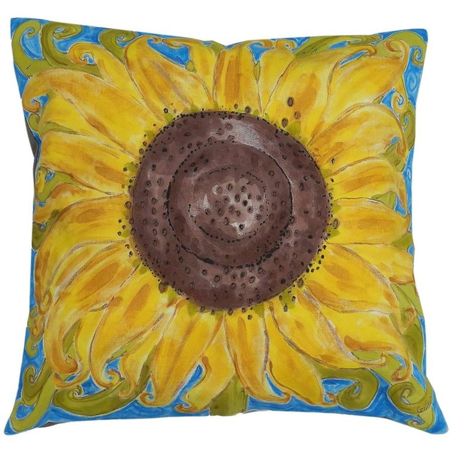 One of a Kind Pillow HandPainted Sunflower Unique Throw Cushion Artist Signed