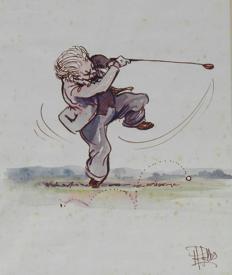 Original Painting Caricature of a Golfer by Peter Hobbs Golf Elderly Gentleman