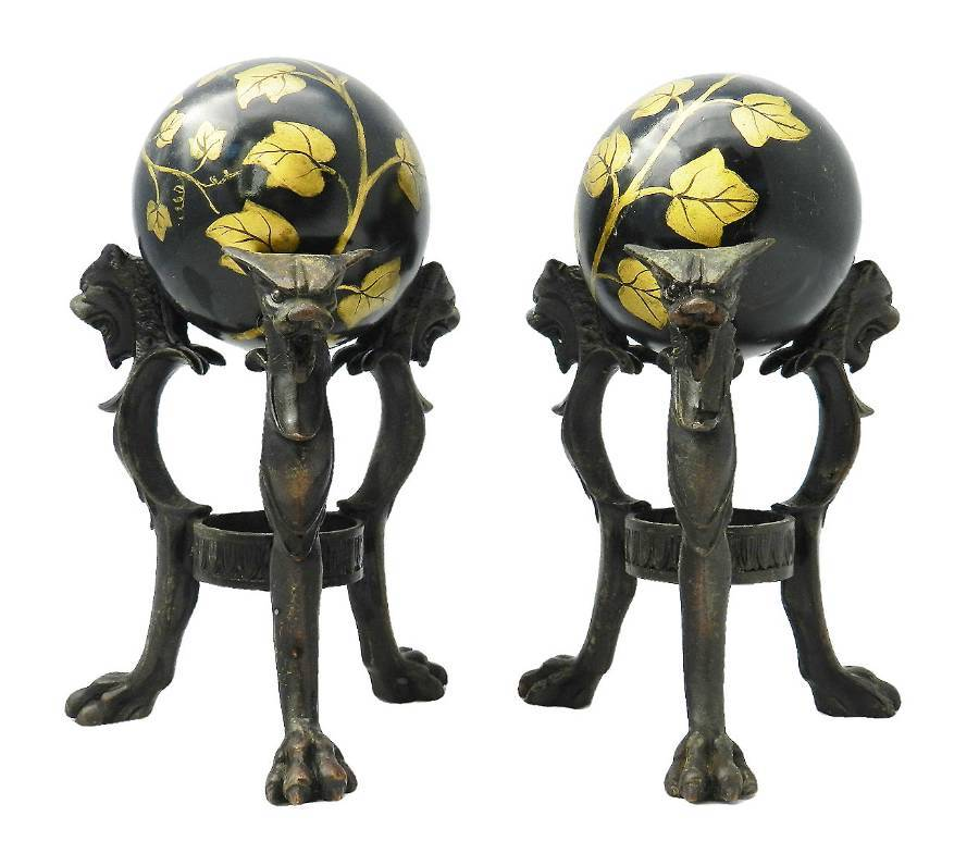 Antique Pair Antique Tripod Bronze Stands with Chimera and Balls painted Ivy