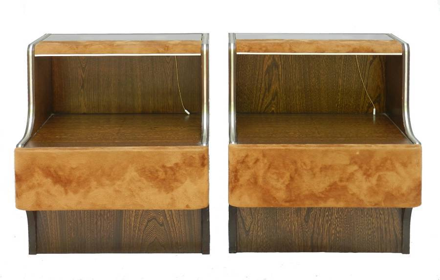 Pair MidCentury Nightstands Side Cabinets Bedside Tables with Lights Suede