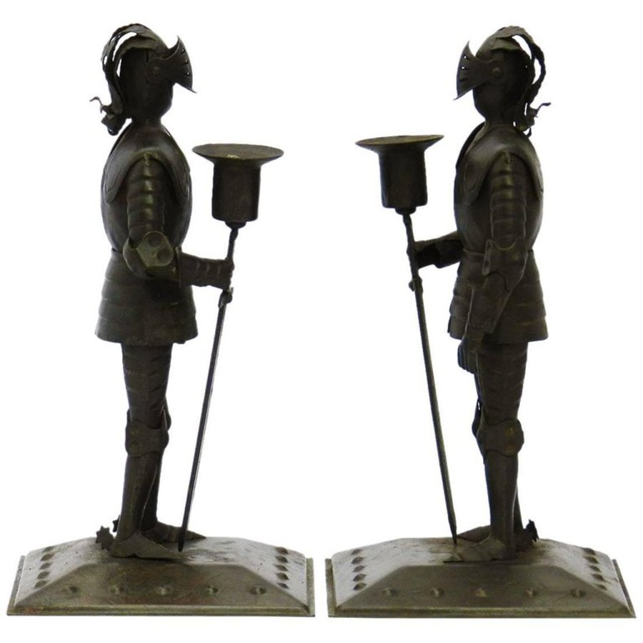 Pair of Arts  Crafts Candlesticks Goberg Knights Vienna Secession Hugo Berger