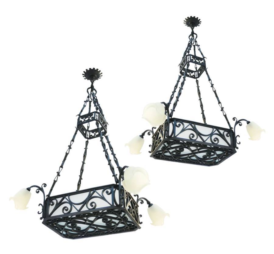 Pair of Belle poque Chandeliers Large French Antique Lights Wrought Iron Glass