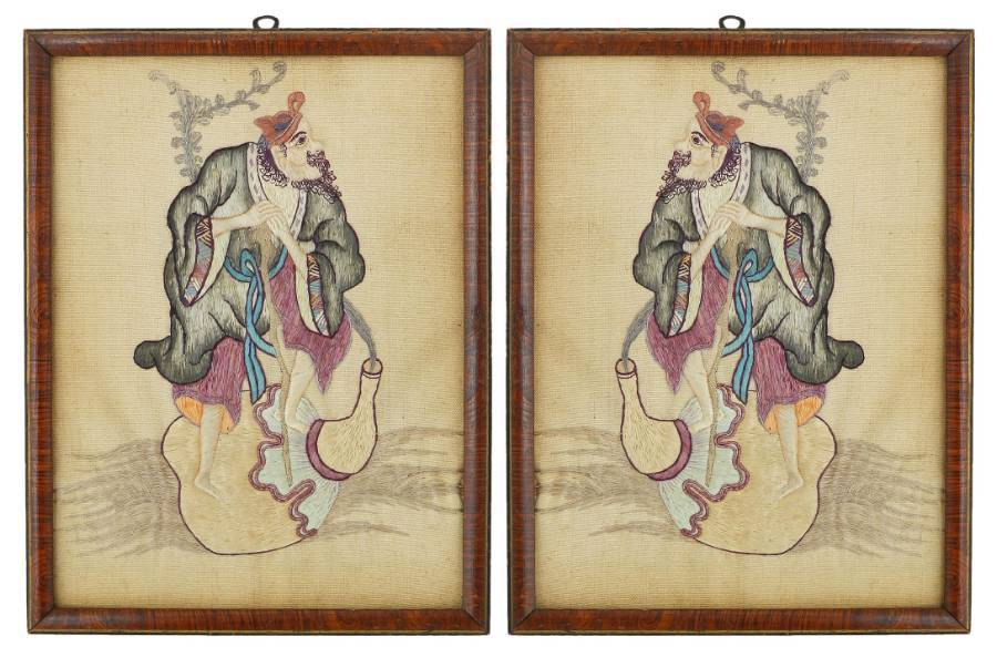 Pair of Embroidered Chinoiserie Picture Panels of a Gentleman c1920