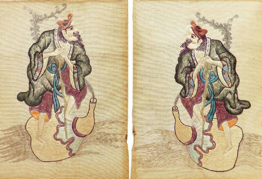 Antique Pair of Embroidered Chinoiserie Picture Panels of a Gentleman c1920