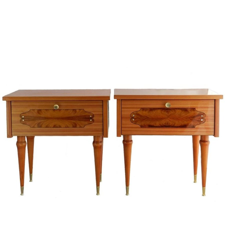 Antique Pair of Nightstands Side Cabinets Bedside Tables French MidCentury