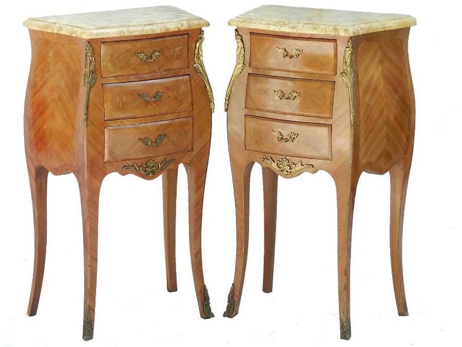 Pair of Side Cabinets Tulipwood French Louis rev Bedside Tables Nightstands