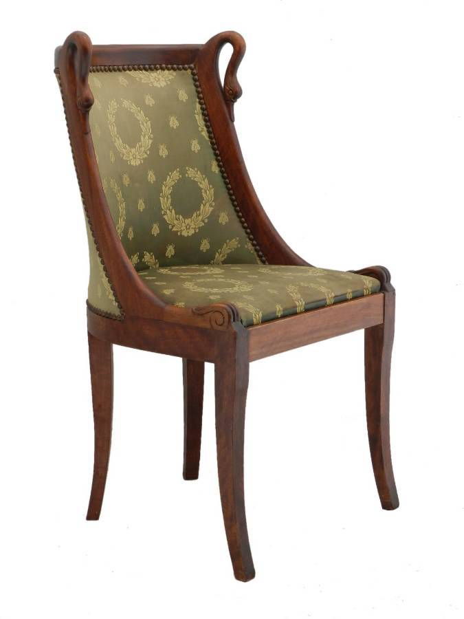 Antique Six Dining Chairs French Empire revival Swan Neck to recover