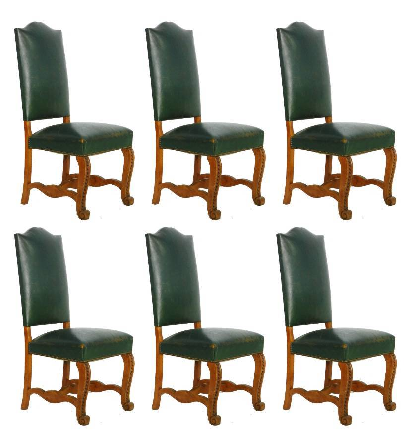 Six Dining Chairs Spanish Green Leather Upholstered circa 1920