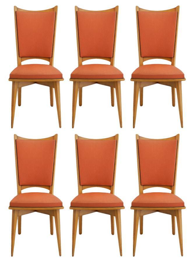 Antique Six Mid Century French Dining Chairs all original in good condition