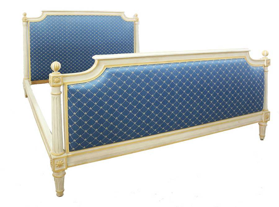 French Bed US Queen UK King Size Upholstered C20 Louis XVI Revival