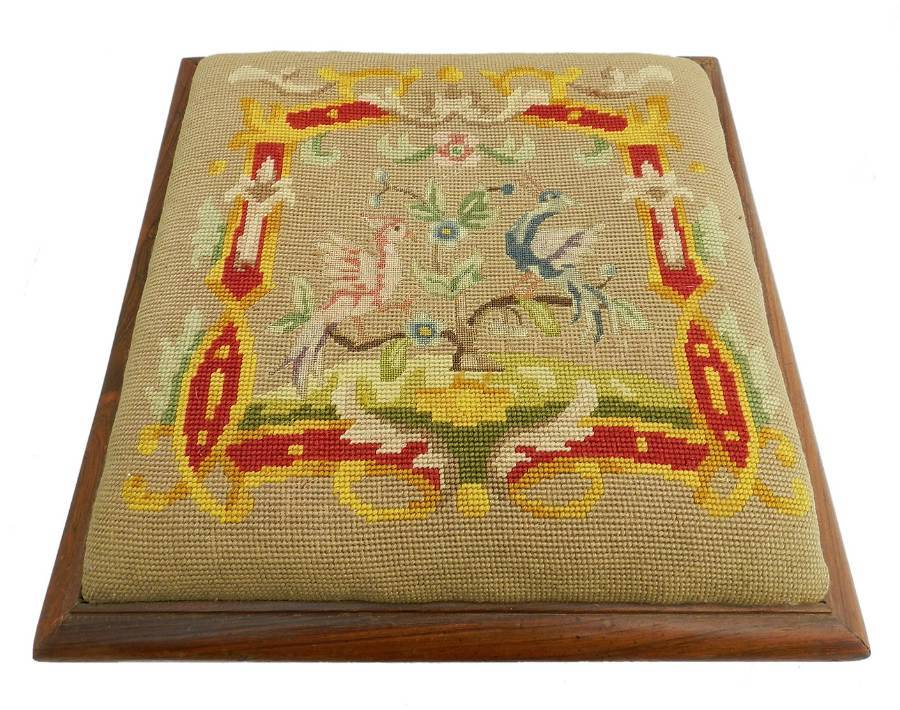 Antique Antique Needlepoint Footstool French Belle poque c1900
