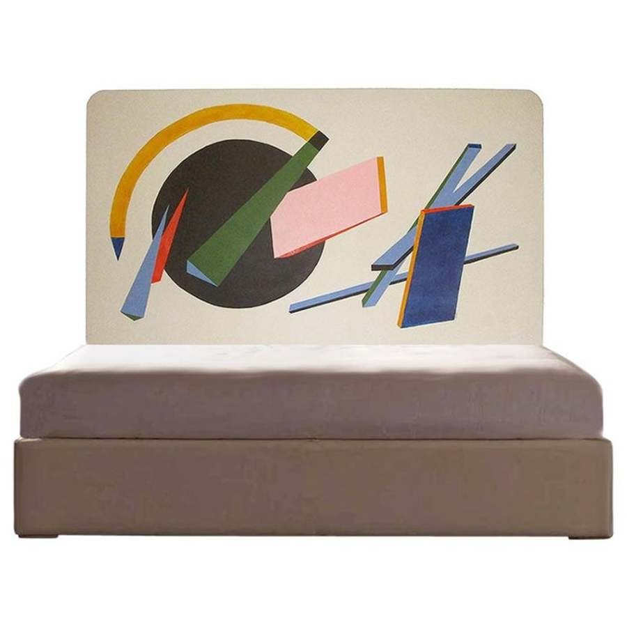 French Bed Headboard Painted by Artist Unique for Midcentury Interior or Loft
